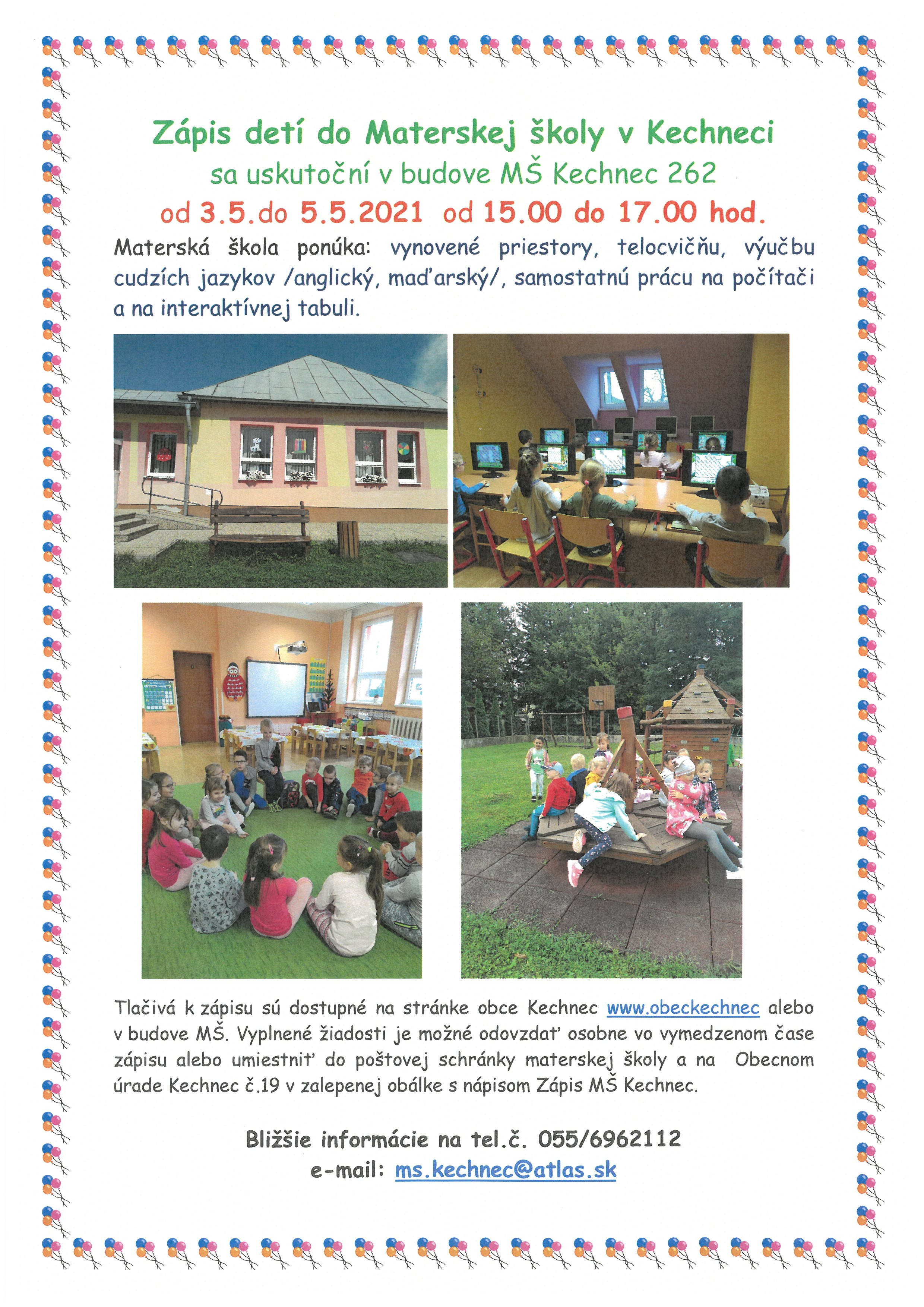 Zápis detí do Materskej školy Kechnec